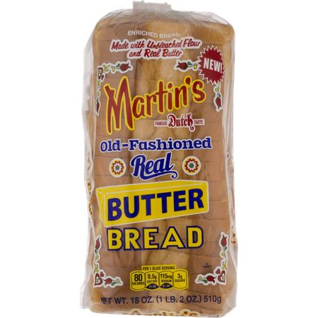 Martin's Old-Fashioned Real Butter Bread- 16 slice 18 oz. (4 Bags) High Fiber Bread