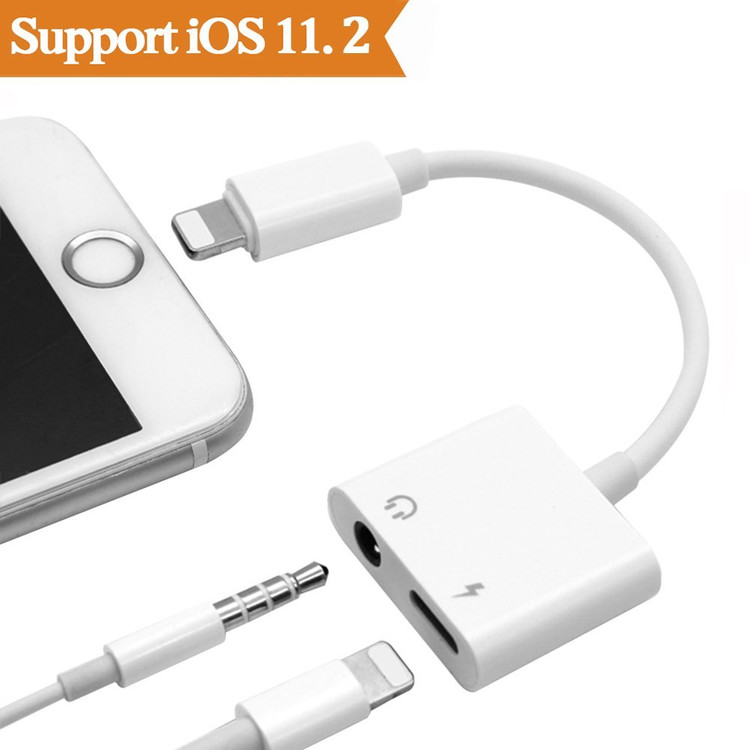 iPhone 7 Adapter & Splitter, 2 in 1 Aux Headphone Jack Audio & Charge Cable Adapter,3.5mm Lightning Adapter for iPhone7/7Plus/8/8Plus/X, Support iOS 11 and Before