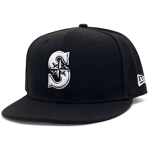 Men's New Era Black Seattle Mariners League Basic 59FIFTY Fitted Hat