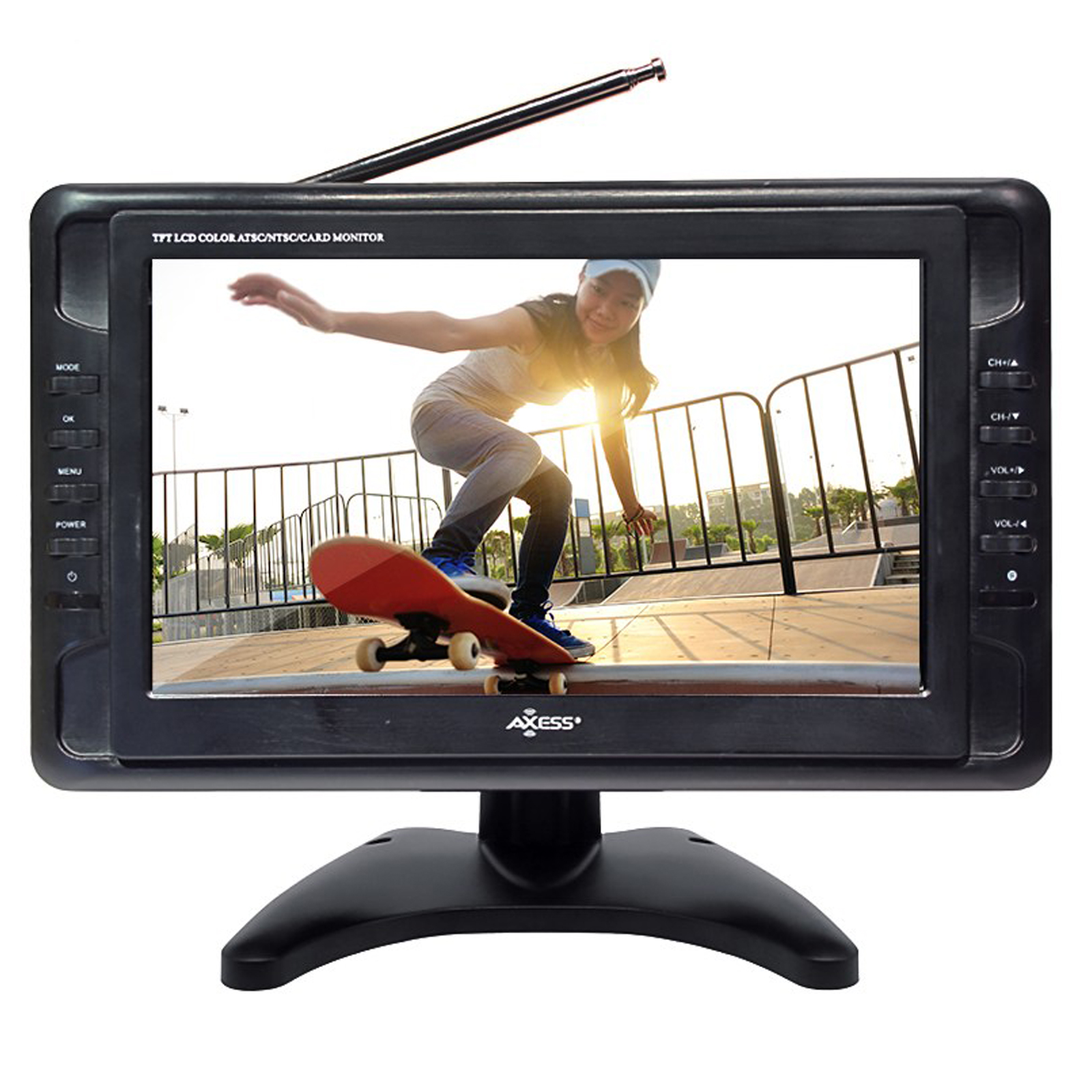 Axess 10 Inch Portable TV ATSC/NTSC with Battery