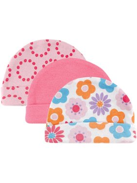 Newborn Baby Boys' and Girls' Caps 3-Pack, 0-6 months, Choose Your Color
