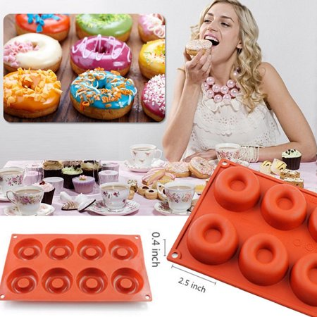 [2 Pack] Donut Silicone Baking Mold,iClover Non-Stick Food Grade Muffin Cups Cake Biscuit Cookie Candy Mold Pan -Dishwasher, Oven, Microwave, Freezer Safe 8-Cavity Birthday Valentine's Day Gift (Food Safe Clay Molds)