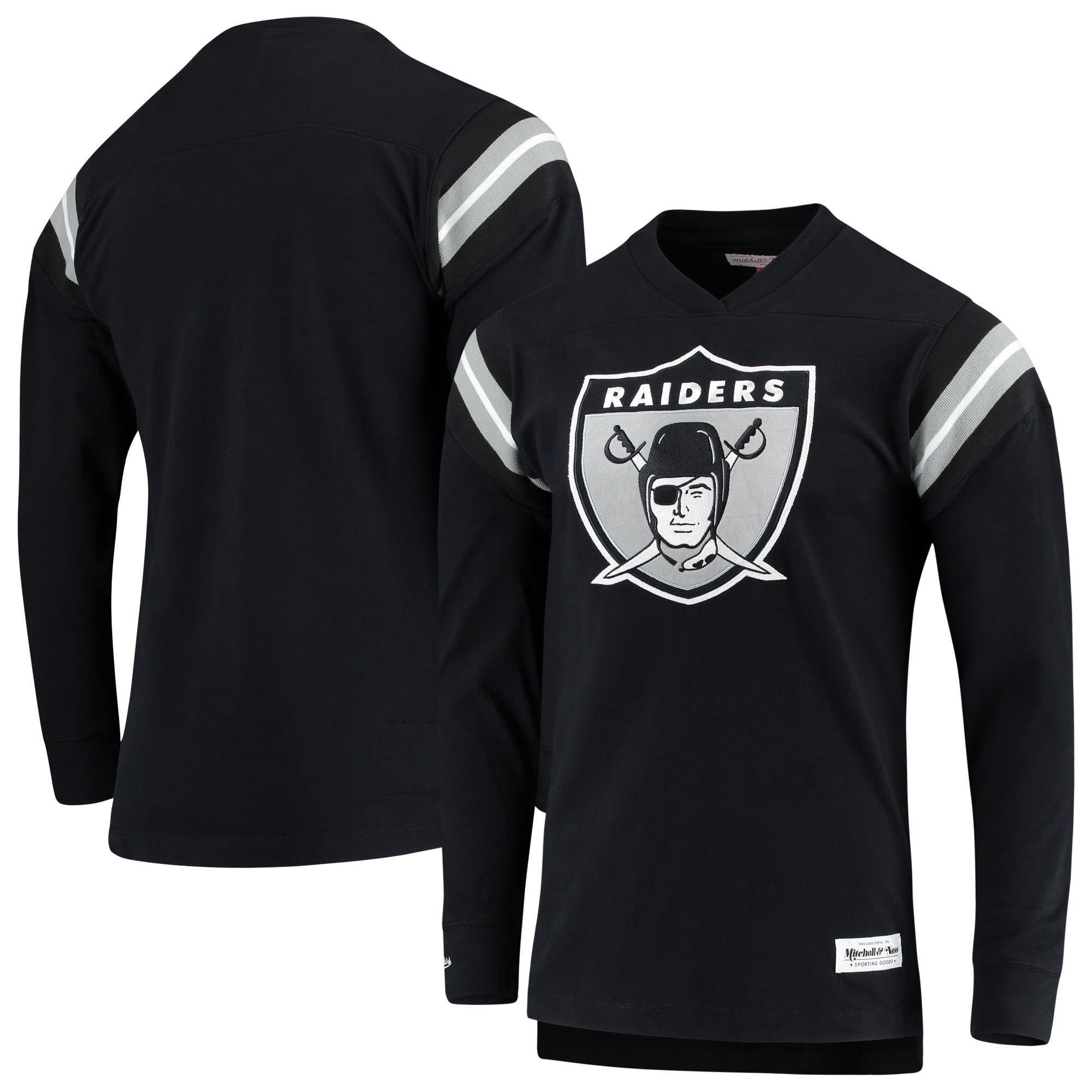 Oakland Raiders Mitchell & Ness Team Captain V-Neck Long Sleeve T-Shirt - Black