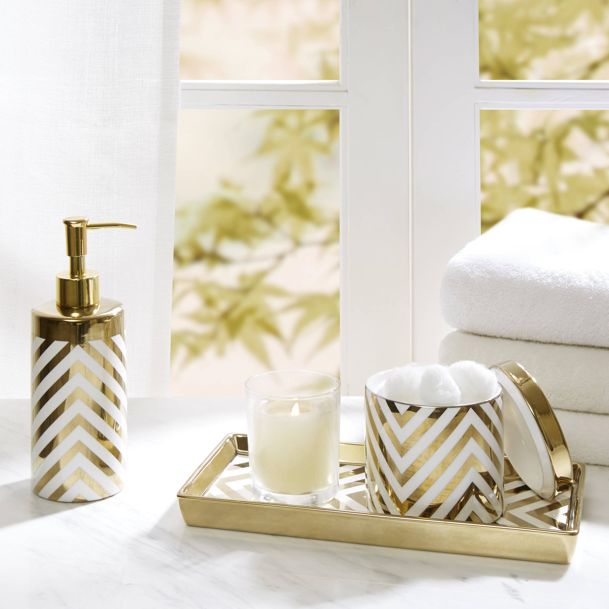 Home Essence Gold Chevron Ceramic Bath Accessory Set by E&E Co.