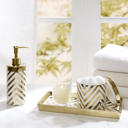 Home essence gold chevron ceramic bath accessory set for White and gold bathroom accessories