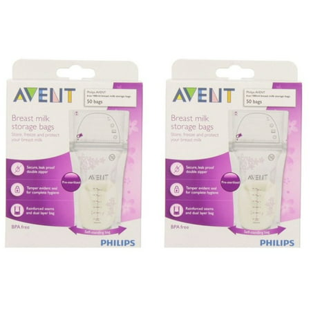 (2 Pack) Philips AVENT 6-oz Breast Milk Storage Bags, 50-Count, BPA-Free