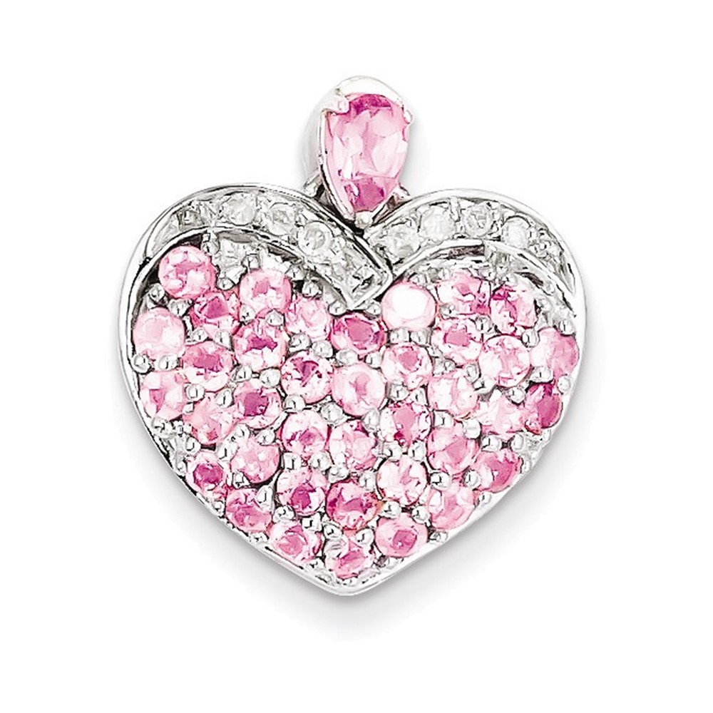 Sterling Silver Pink Tourmaline & Diamond Heart Pendant by