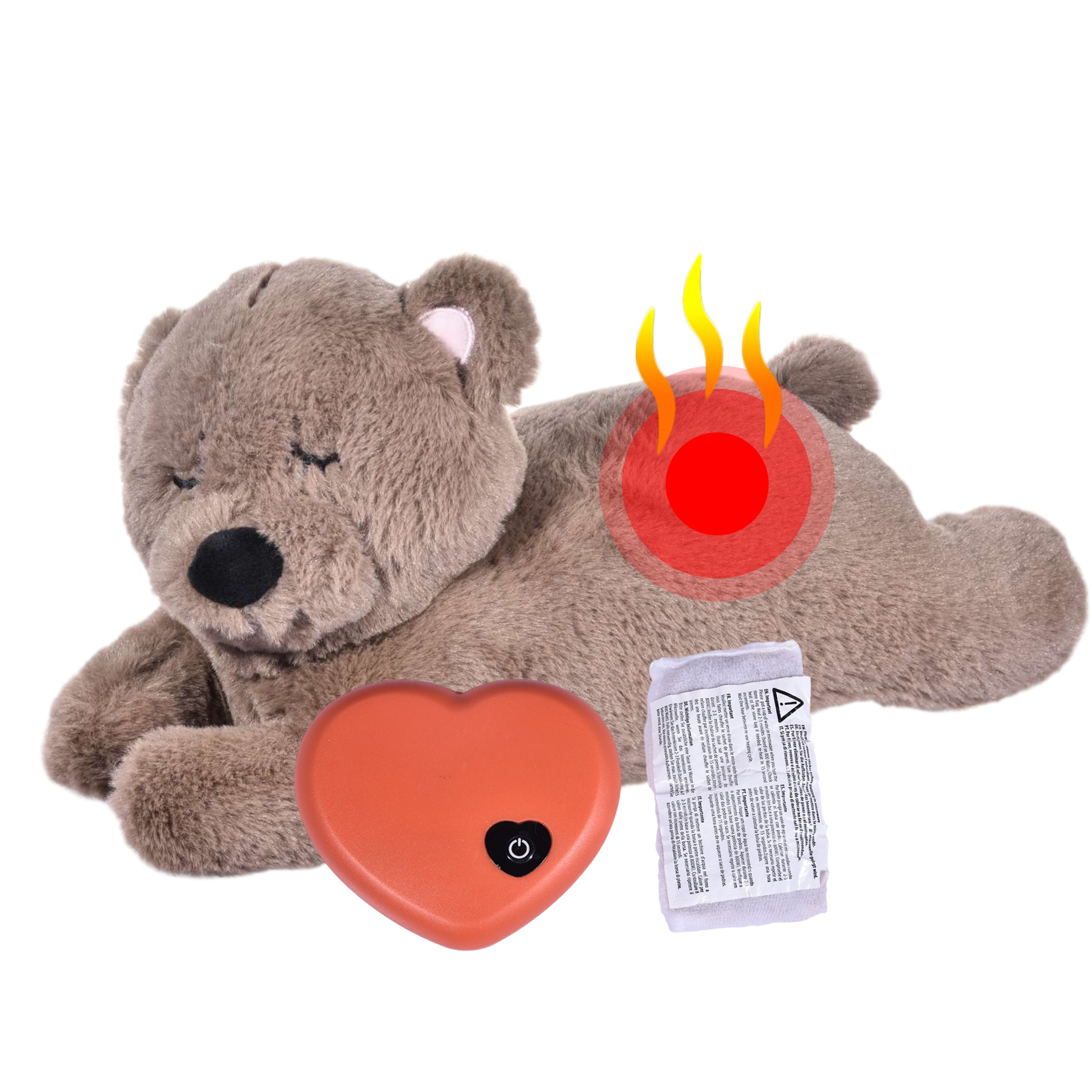 Dog Plush Toy Bear Heartbeat Toy Pet Heating Plush Toy Comfortable Behavioral Training Aid Toy Heart Beat Plush Doll Sleep for Smart Dogs Cats