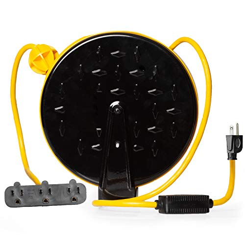 Retractable Extension Cord Reel 16/3 Gauge, 30ft Length - Yellow & Black with 3 Electrical Power Outlets - Perfect for Hanging from Your Garage Ceiling