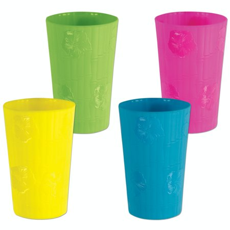 Club Pack of 12  Tropical Luau Bamboo & Hibiscus Floral Plastic Drinking Party Tumbler Cups 18 oz. (Plastic Tumbler Cups)