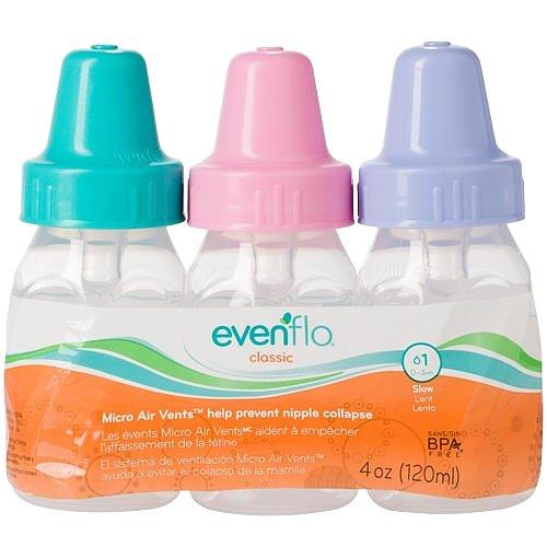 Evenflo Classic Clear 4 Ounce 3 Pack Bottles - Girl