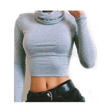 d6879c625b56 Sexy Dance - Women High Neck Long Sleeve Crop Tops Winter Polo Neck ...