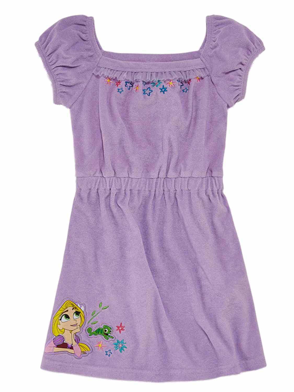 Disney Tangled Girls Purple Rapunzel & Pascal Terry Swim Suit Cover Up Dress