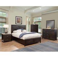 Alpine Furniture Shutter Storage Footboard Platform Bed