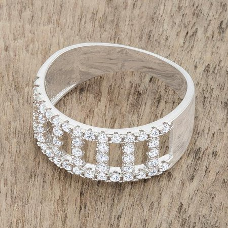 0.5 ct Rey Cubic Zirconia Rhodium Contemporary Band Ring, Clear - Size