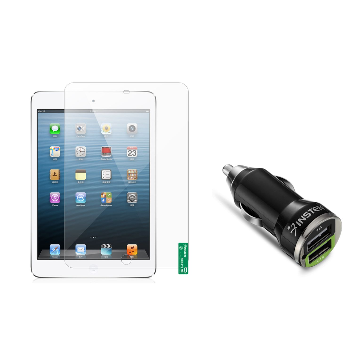 Insten 3-piece Matte Screen Protector For Apple iPad Mini 1 / 2 /3 Retina Display (w/ 2-Port USB Car Charger Adapter)