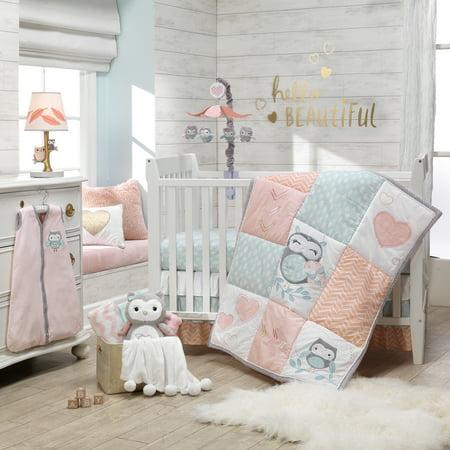 Lambs & Ivy Sweet Owl Dreams Pink Heart Nursery 6-Piece Baby Crib Bedding Set ()