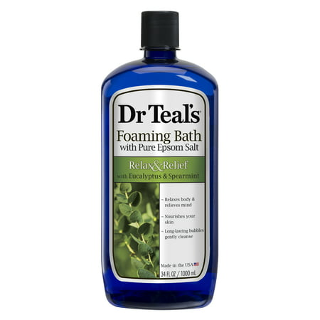 Non Foaming Bath - Dr Teal's Foaming Bath with Pure Epsom Salt, Relax & Relief with Eucalyptus & Spearmint, 34 Oz