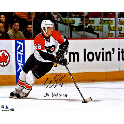 "Claude Giroux Philadelphia Flyers Autographed 16"" x 20"" White Jersey Skating Photograph with NHL Debut 2 19 08... by Fanatics Authentic"