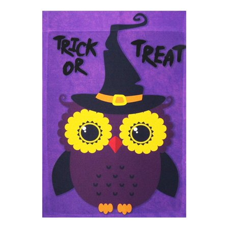 G128 - Halloween Garden Flag, Trick or Treat Quote with Cute Owl, Garden Yard Decorations, Rustic Holiday Seasonal Outdoor Flag 12