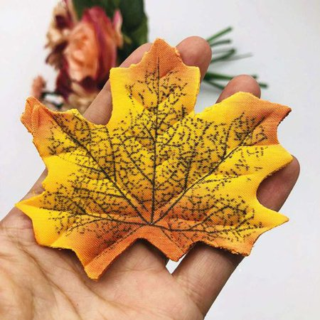 KABOER50Pcs Simulation Plant Photo Shoot Props Fake Silk Autumn Maple Leaves Artificial Fall Leaf Table Door Fall Wedding Party Birthday Baby Shower Decorations