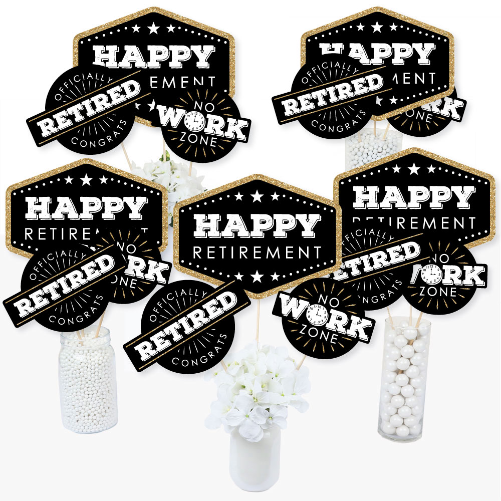 Happy Retirement - Retirement Party Centerpiece Sticks - Table Toppers - Set of 15