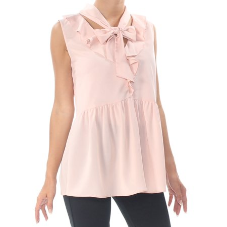 LE GALI Womens Pink Ruffled Sleeveless Tie Neck Top  Size: XS