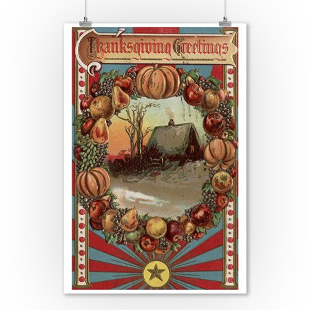 Thanksgiving Greetings - A Country Scene with Produce Border (9x12 Art Print, Wall Decor Travel Poster) (Thanksgiving Scenes)