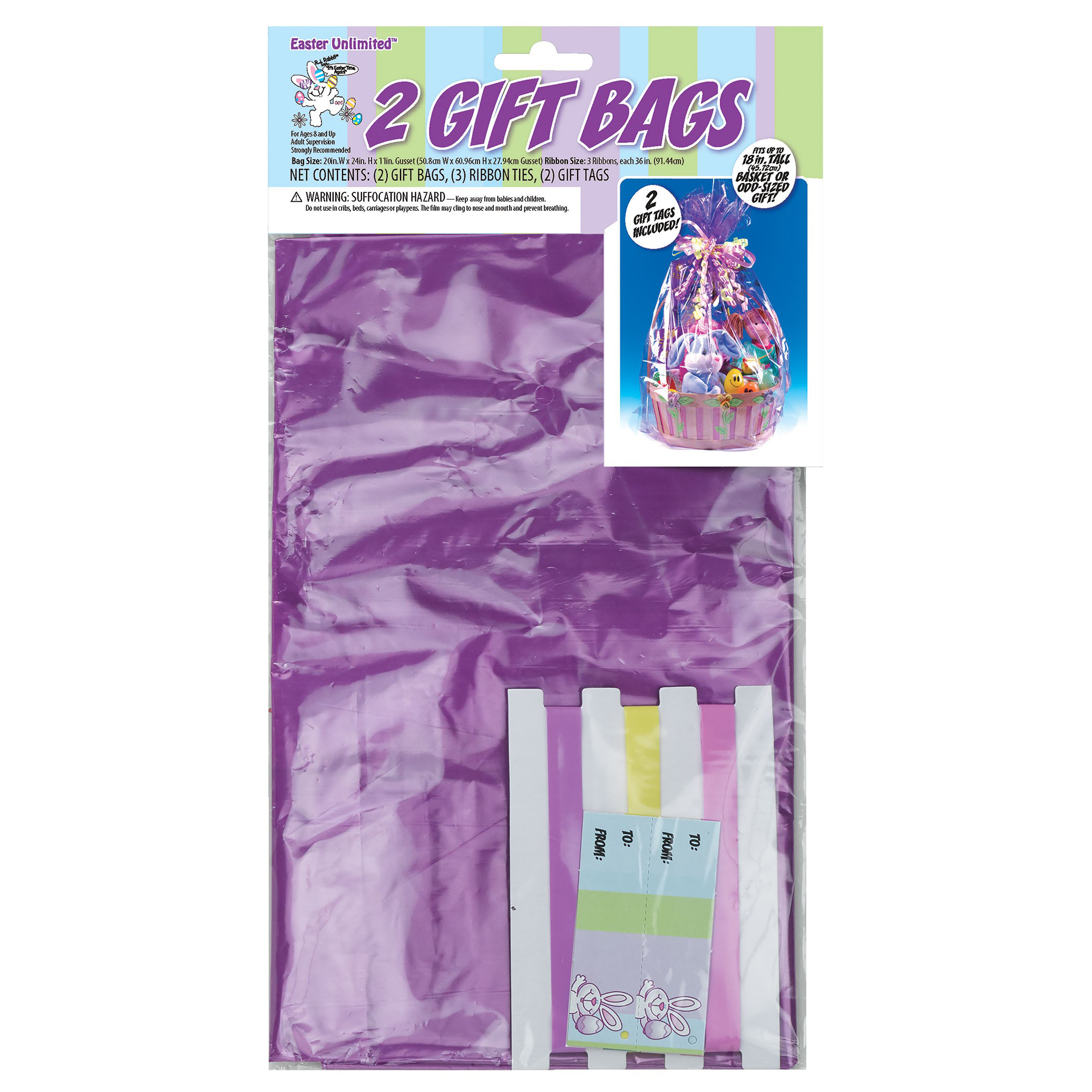 """Fun World Transparent Plastic 24"""" Gift Bags With Tags, 2 Pack"""