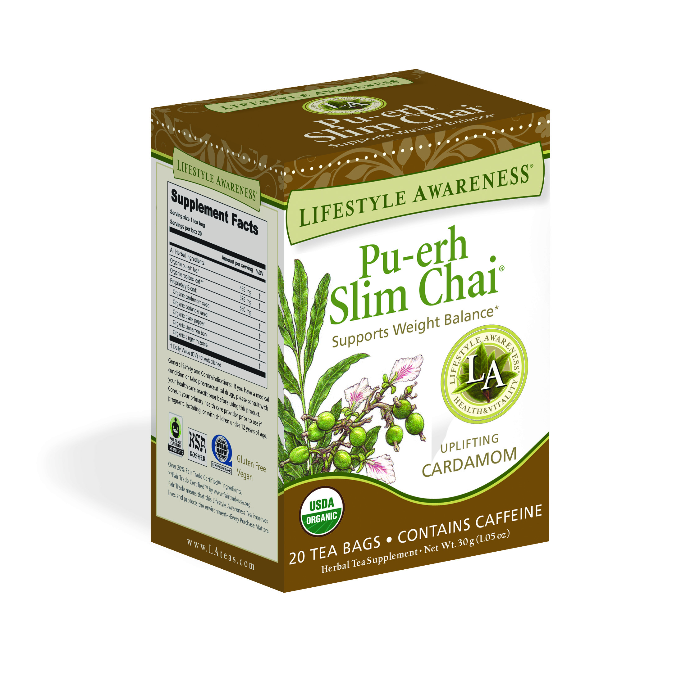 Lifestyle Awareness Pu-erh Slim Chai Tea with Uplifting Cardamom, Contains Caffeine, 20 Tea Bags, Pack of 6