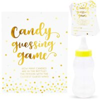38-Pack Candy Bottle Guessing Game with Baby Bottle Bank for Baby Showers and Parties, Polka Dot Confetti Designs, Gold