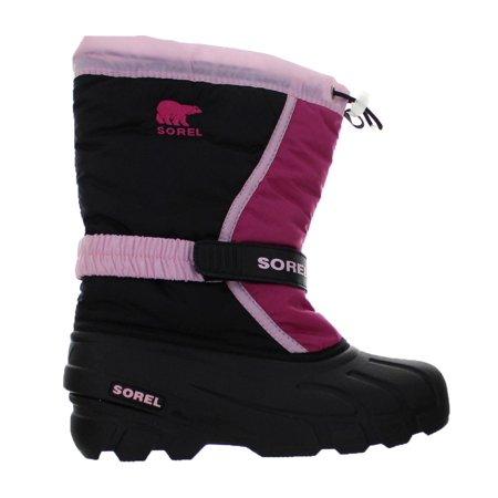 Kids Sorel Flurry TP GS Boot Prairie Rose Black NY 1810-589