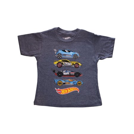 Hot Wheels Little Boys' Toddler Four Car Stack Tee, Navy Heather (Cars Apparel)
