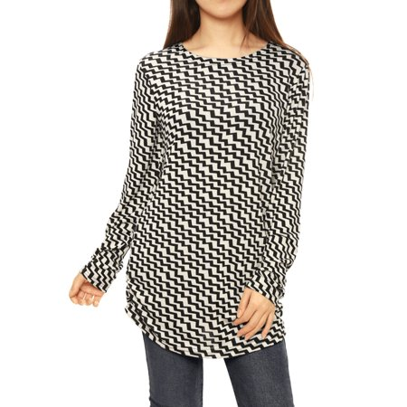 Unique Bargains Women Printed Shirred Sides Knitted Tunic Tops