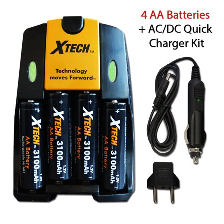 4 AA NiMH Rechargeable Batteries (3100mAh) + AC/DC Quick Charger Kit for FujiFilm Instax Mini 8, Mini 7, Mini 7s, Mini 90, Mini 90 Neo, Mini 25, Mini 50s, Instax 300 Wide, Instax 210 Instant (Difference Between Fujifilm Mini 7s And 8)