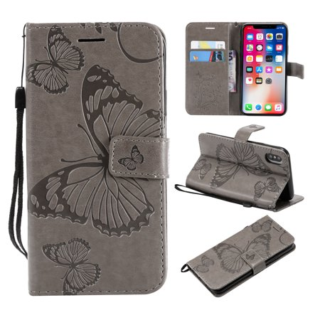 iPhone X/ XS Wallet case, Allytech Pretty Retro Embossed Butterfly Flower Design PU Leather Book Style Wallet Flip Case Cover for Apple iPhone X/ XS/ iPhone 10, Gray