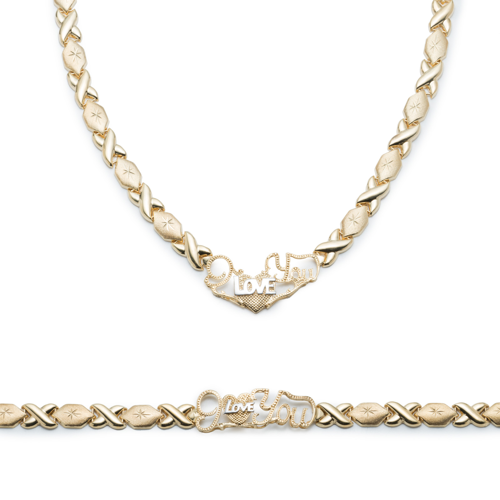 """.925 Sterling Silver Stampato Xoxo Hugs and Kisses with Heart """"I Love You"""" Bracelet and Necklace Set... by Glad Gold"""