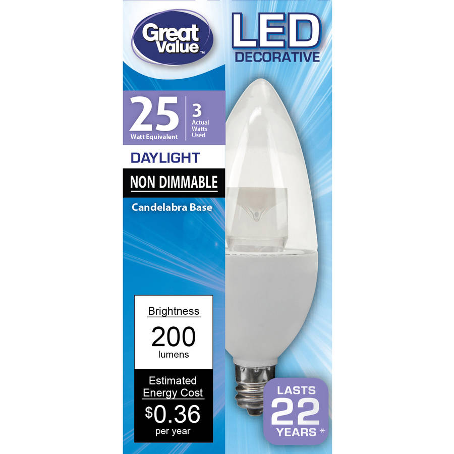 great value candelabra led light bulb 3w 25w equivalent daylight 1