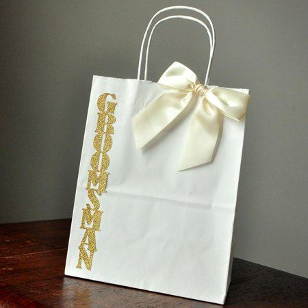 Groomsmen Gift Bags. Handcrafted in 1-3 Business Days. Large White Paper Bags with Handle. Groomsmen Gift Ideas. W8KFT. - Gift Bags Ideas