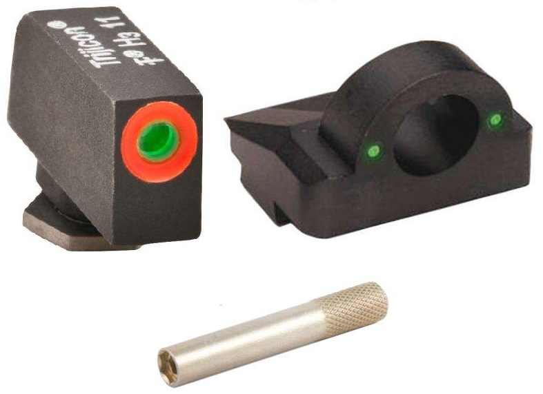 Click here to buy Ultimate Arms Gear 3 Dot Tactical Combat Target Glock Front & Rear Ghost Ring Sight Set Green Dot Trijicon Tritium with....