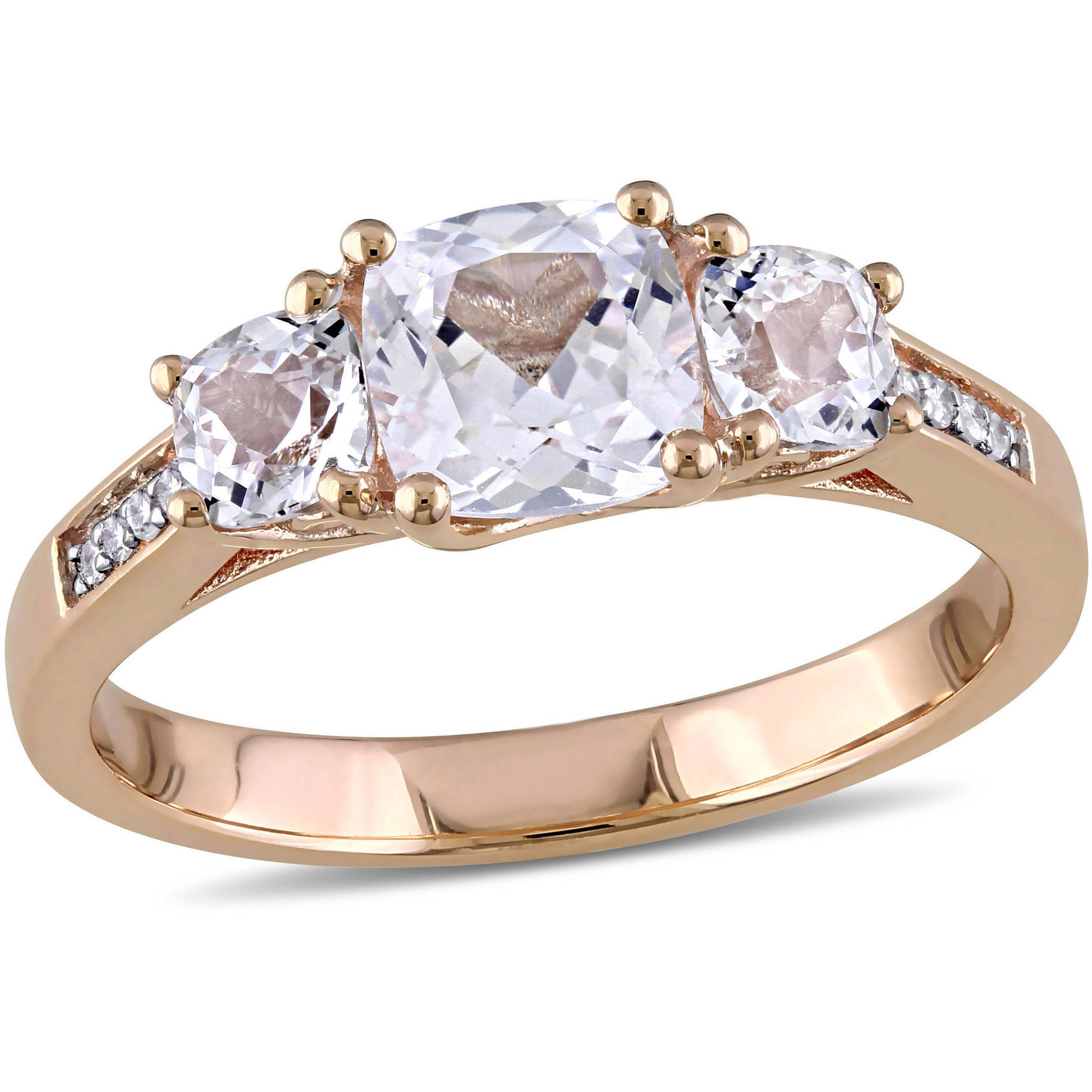 Miabella 2 Carat T.G.W. Cushion-Cut Created White Sapphire and Diamond-Accent 10kt Rose Gold Three-Stone Engagement Ring by Miabella