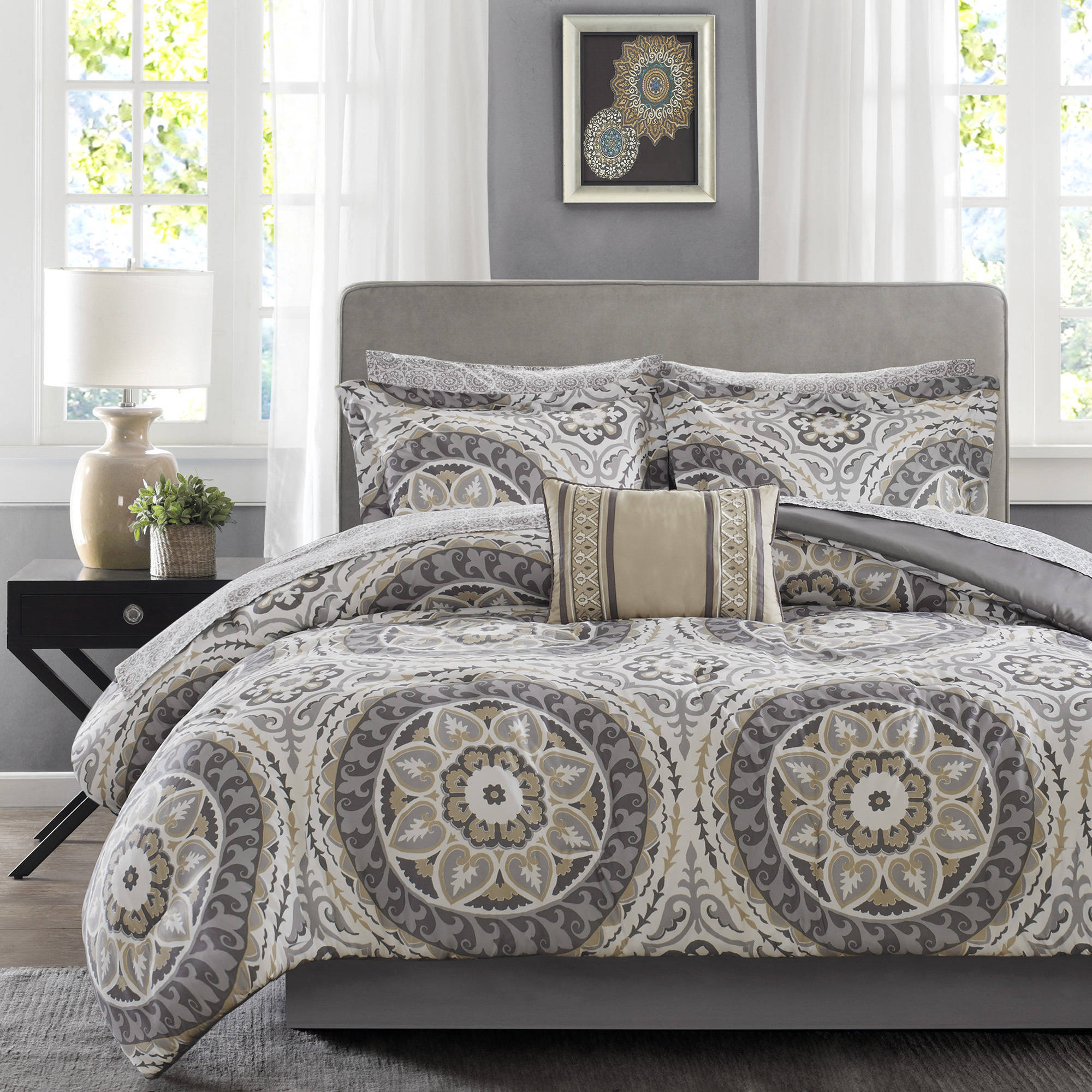 piece set silver chic silk bedding jacquard pin le faux comforter mans design home floral vintage