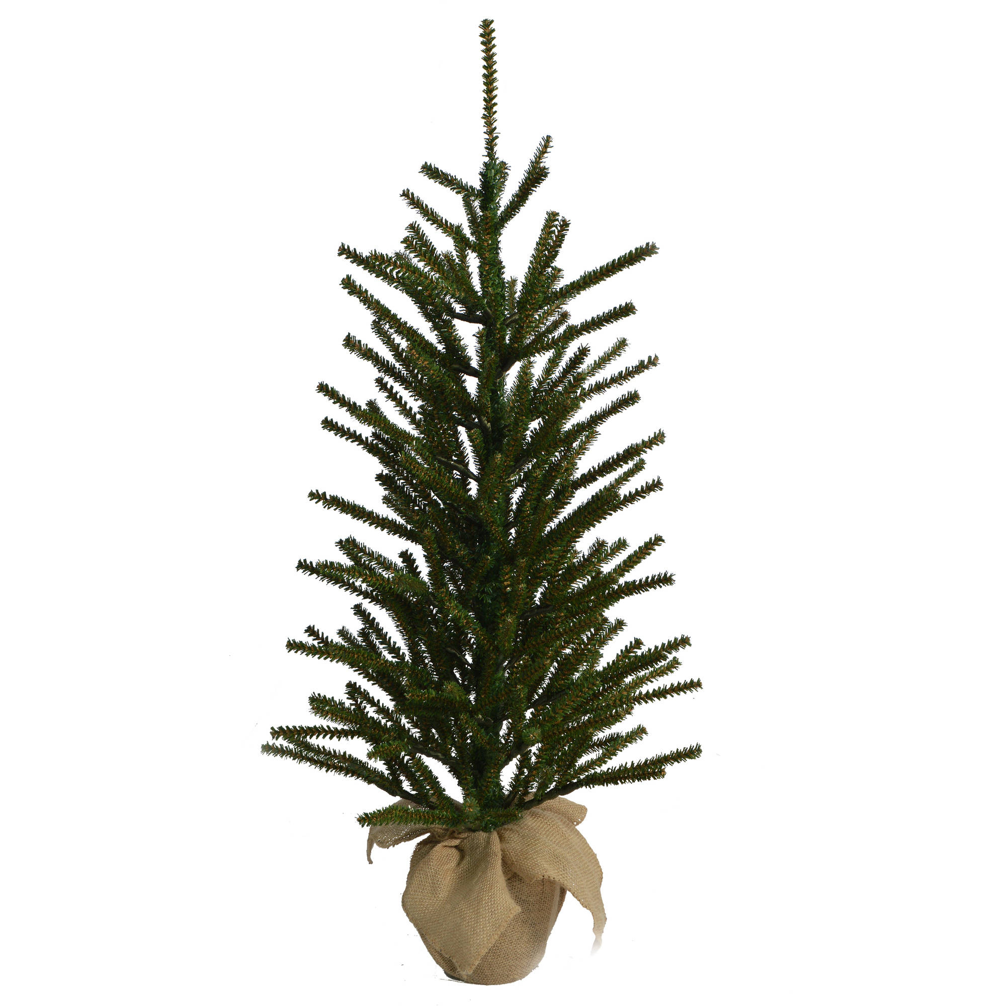 Holiday Time Artificial Christmas Trees Unlit 3' Green Burlap Artificial Tree