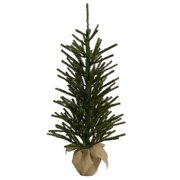 holiday time artificial christmas trees unlit 3 green burlap artificial tree - Artificial Christmas Trees For Sale