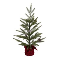"""Holiday Time Snow Pine Tree with Red and Black Plaid Base Christmas Decoration, 24"""""""