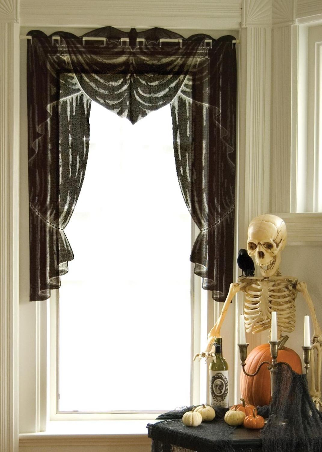 "Decorative Black Phantom Drape Halloween Window Swag Valance 38"" x 53"""