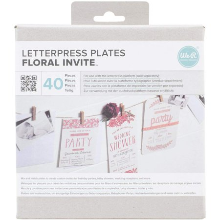 Lifestyle Letterpress Plates, Floral Invite, Create beautiful designs to add to any paper crafting project and more! for use with the letterpress.., By We R Memory Keepers Create Beautiful Designs