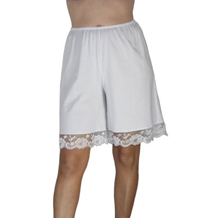 Underworks Pettipants Cotton Knit Culotte Slip Bloomers Split Skirt 9-inch (White Nylon Half Slip)