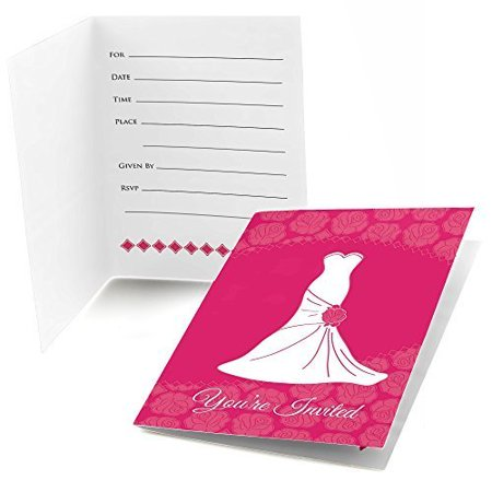 Wedding dress pink fill in bridal shower invitations 8 for Bridal shower fill in invitations