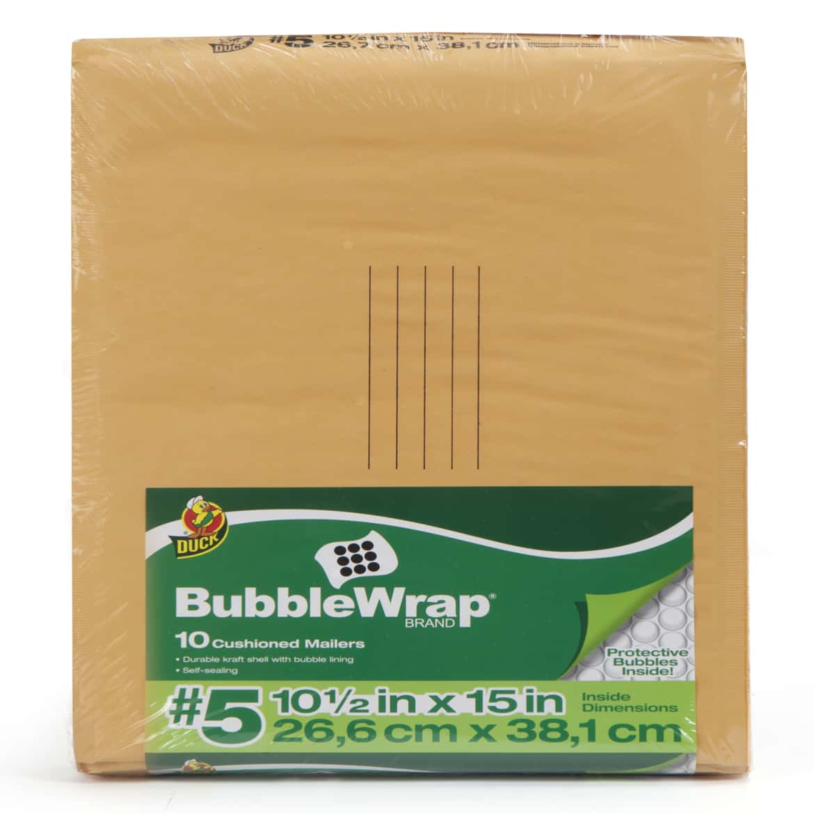 Duck Brand Kraft Bubble Mailers - Manila, 10 pk, 10.5 in. x 15 in.